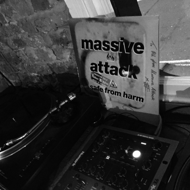 Massive Attack record cover and turntable
